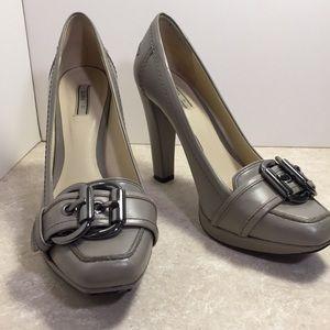 Zara gray platform heels double buckle accent 37